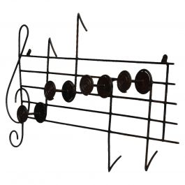 Midcentury Coat and Hat Rack Musical Notes Iron Wall Mount