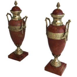 PAIR OF RED MARBLE AND BRONZE CASSOLETTES. 1880'S
