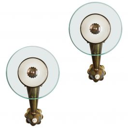 Pair of Midcentury Brass and Glass Wall Lights in the Manner of Fontana Arte