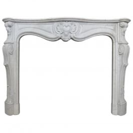 Antique Louis XV Carrara Marble Fireplace Mantel