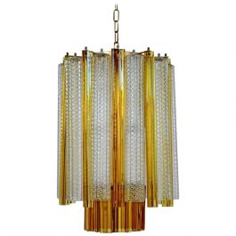 1960s Murano Amber Modernist Chandelier by Venini