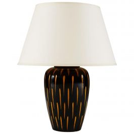 Black and Orange Studio Pottery Vase as a Table Lamp