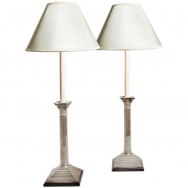 Pair of English Silver Plate Column Lamps