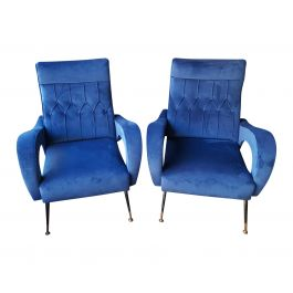 Pair of Italian Blue Armchairs, 1950s