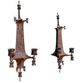 Antique Textured Oxide Patina Wall Sconces