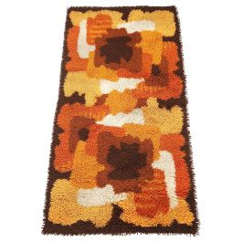 Small Psychedelic Floral 1970s High Pile Rug by Prinstapijt Desso, Netherlands