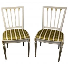 Gustavian Leksand Swedish Dining Chairs Pair in Gilt 20th Century