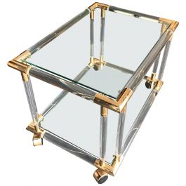Art Deco Style Lucite and Brass Bar Trolley / Side Table on Castors
