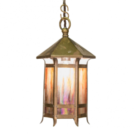 A small Arts & Crafts brass lantern with iridescent glass panels