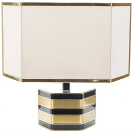Large Italian Romeo Rega Brass and Black Table Lamp, 1970s