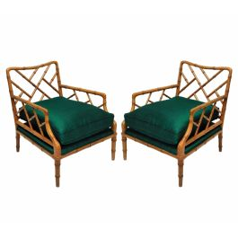 A Pair of Faux Bamboo Cockpen Armchairs