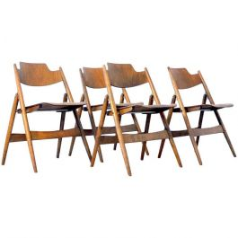 Four 1950s Egon Eiermann Ply Wood Folding Chairs