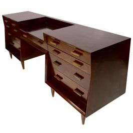 Mexican Modernist Double Dresser with Desk