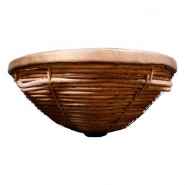 Rare Mid-Century Modern Woven Basket with Brass Accents, after Arthur Umanoff