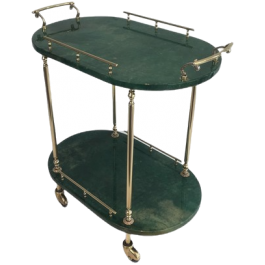 ALDO TURA. GOATSKIN AND GILT METAL DRINKS TROLLEY