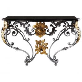 French Louis XV Style Wrought Iron and Gilt Metal Marble Topped Console Table