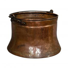 Large, Antique Fire Bucket, English, Copper, Fireside, Log, Cauldron, Georgian