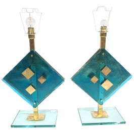 Pair of Decorative Murano Glass and Brass Table Lights by Salviati