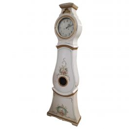 Swedish Antique Mora Clock White Gold Carved Hood Detail, Early 1800s