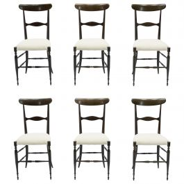 Rare Set of Six Campanino Chiavari Walnut Chairs by Fratelli Levaggi, 1950