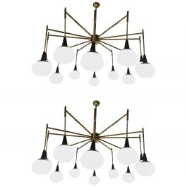 Pair of Italian Modernist Chandeliers in Brass with Opaline Glass Shades
