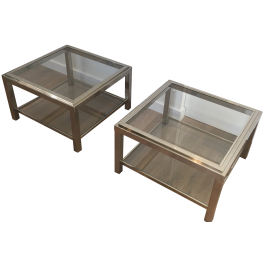 PAIR OF IMPORTANT CHROME SIDE TABLES. FRENCH. 70S