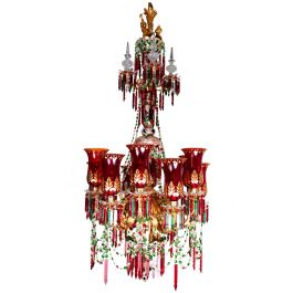 12-Arm Ruby, White over Green Cut Glass Chandelier by F & C Osler