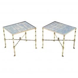 Pair of French Maison Jansen Brass Mirrored End Tables, 1960s