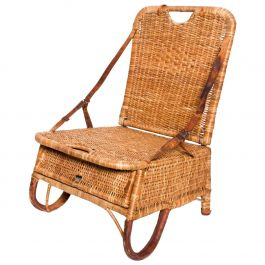 Mid Century Modern Rattan Leather Sculptural Portable Traveling Chair