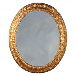 Mid 19th Century Carved Giltwood Oval Mirror