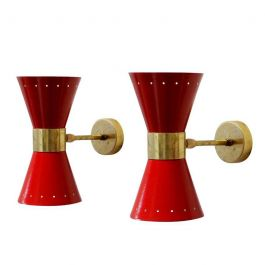 Italian Mid-Century Wall Lamps, Set of 2