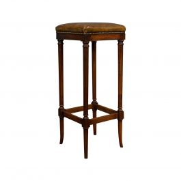 Tall Vintage Stool, English, Leather, Mahogany, Bar, Breakfast, Seat, circa 1980