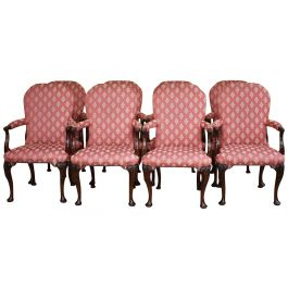 Set of 8 18th Century Style Open Arm Chairs