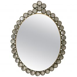 Small Wall-Mounted Mirror with Decorative Glass and Brass Frame, European