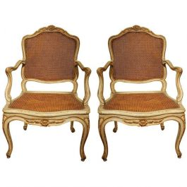 Pair of Louis XV French Armchairs Lacquer and Gilded Attributed to Claude I Sené