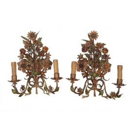 Pair of 19th Century Flower Wall Lights
