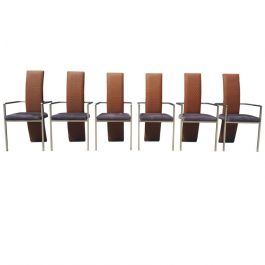 Set of Six Mid-Century Modern Belgo Chrome Dining Chairs