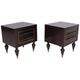 Pair of Mahogany and Brass Nightstands Attributed to Eugenio Escudero