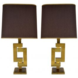 Pair of Sculptural Geometric Willy Rizzo Brass Table Lamps