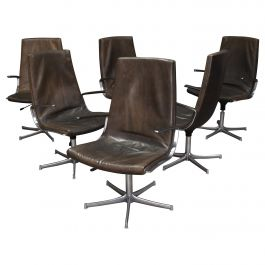 Walter Knoll Leather Office / Desk Swivel Armchairs Set of Six, Germany, 1975