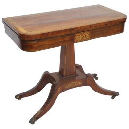 Regency Rosewood Brass Inlaid Card Table