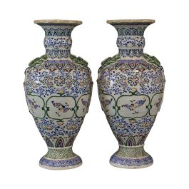 Pair of Large Vintage Baluster Vases, Decorative Ceramic Urns, 20th Century