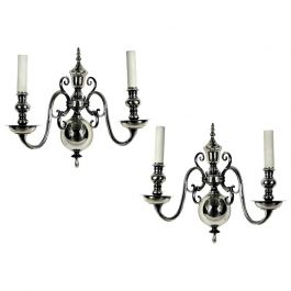 Pair of 19th Century English Silver Plated Wall Sconces