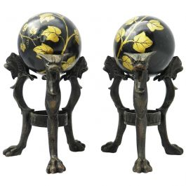 Pair Antique Tripod Bronze Stands with Chimera and Marble Balls Painted Ivy
