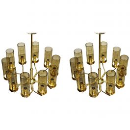 Set of Two T10 Hans-Agne Jakobsson Chandeliers in Brass by AB Markaryd