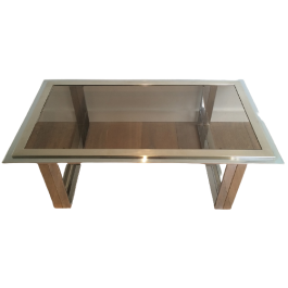 ATTRIBU WILLY RIZZO. CHROME AND BRASS COFFEE TABLE