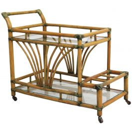 A 1970's French Riviera Bamboo & Glass Drinks Trolley Bar Cart