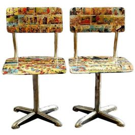 Pair of Mid-Century Bentwood Child's Chairs, 1950s childrens comic decoupage