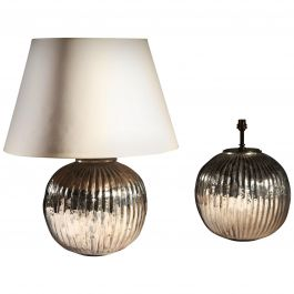 Pair of Midcentury Silver Gadrooned Table Lamps of Spherical Form
