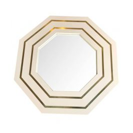 JEAN CLAUDE MAHEY IVORY LACQUERED OCTAGONAL MIRROR